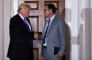 President-elect Donald Trump and Todd Ricketts, a co-owner of the Chicago Cubs, shake hands as Ricketts leaves the Trump National Golf Club Bedminster clubhouse in Bedminster, N.J., Saturday, Nov. 19, 2016. (AP Photo/Carolyn Kaster) ORG XMIT: NJCK179