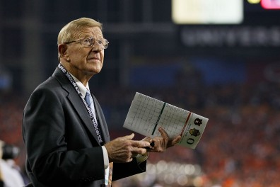 GLENDALE, AZ - JANUARY 10: ESPN reporter Lou Holtz looks on during the Tostitos BCS National Championship Game between the Oregon Ducks and the Auburn Tigers at University of Phoenix Stadium on January 10, 2011 in Glendale, Arizona. (Photo by Kevin C. Cox/Getty Images)